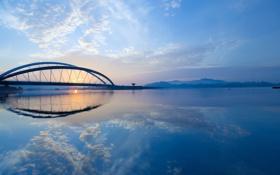Картинка небо, мост, Река