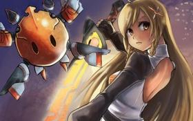 Обои девушка, оружие, меч, арт, Mirai Suenaga