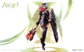 Картинка девушка, красный, черный, страж, Aion