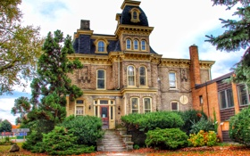Обои дизайн, Ontario, Канада, Port Colborne, дом, осень, листья