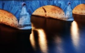 Обои мост, город, река, Light, Arcs