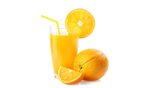 Обои бокал, апельсин, сок, трубочка, ломти