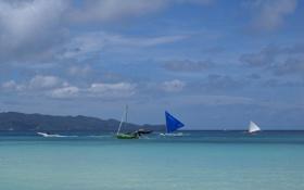 Обои море, небо, облака, горы, лодка, парус