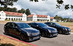 Картинка чёрный, Cadillac, купе, CTS, седан, передок, универсал
