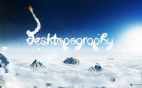Картинка облака, скалы, аэроплан, самолёт, desktopography