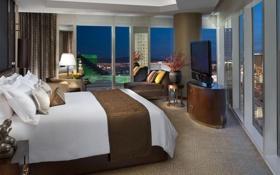 Обои дизайн, стиль, комната, интерьер, квартира, мегаполис, спальня
