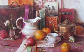 Картинка цветок, книги, апельсины, картина, чайник, чашка, чемодан