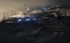 Обои космос, горы, здание, планета, корабли, космопорт, колония