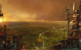 Картинка город, вечер, арт, кратер, конец света, Krater Preview