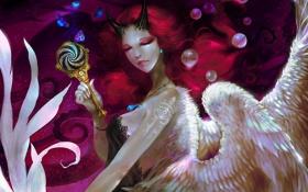 Обои девушка, пузырьки, крылья, арт, рога, закрытые глаза, суккуб