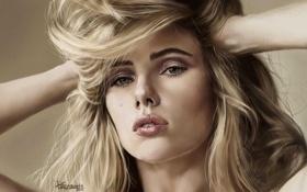 Картинка девушка, лицо, волосы, арт, родинка, Prabhu K, Scarllet Jonason
