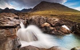 Обои водопад, Шотландия, Michael Breitung, остров Скай