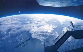 Картинка небо, космос, звезды, земля, луна, планета, космонавт
