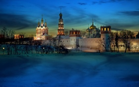 Обои light, moscow, cold, monastery, novodevichy