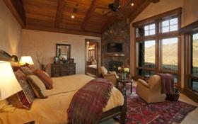 Обои дизайн, комната, кровать, интерьер, подушки, окно, потолок