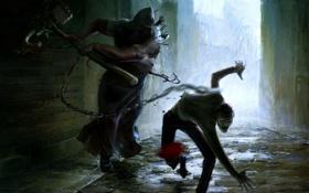 Картинка оружие, улица, кровь, человек, монстр, арт, цепь