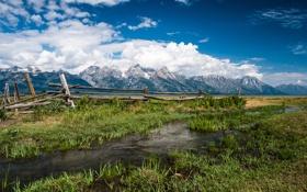 Обои горы, природа, ручей, Grand Teton National Park