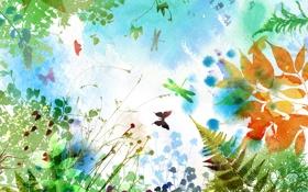 Обои листья, ветки, папоротник, бабочки, стрекозы, цветы