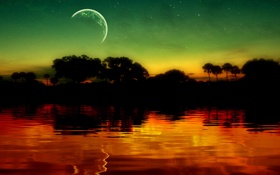Картинка пейзаж, звезды, небо, озеро, луна, обои, блики