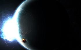 Обои космос, спутник, планета, энергия