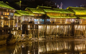 Обои China, Night, Phoenix Ancient Town, Fenghuang
