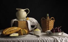 Обои виноград, вино, кувшин, масло, хлеб, натюрморт, сыр