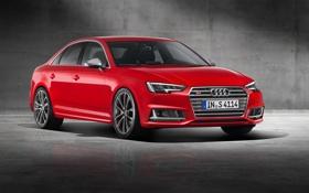 Обои Audi, ауди, Red, красная, Sedan, 2015