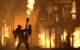 Обои огонь, Valve, Team Fortress 2, Pyro, Поджигатель, Пиро