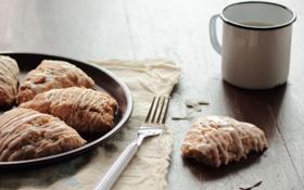 Обои чай, кофе, кокос, завтрак, пирог, сладости, вилка