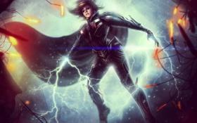Картинка девушка, фантастика, герой, плащ, супергерой, fan art, DC Universe Online