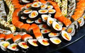 Обои нарезка, морепродукты, суши, красная рыба, Sushi, суси, rolls