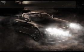 Обои машина, фары, туман, авто