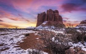 Обои облака, снег, скалы, Юта, США, Utah, Arches National Park