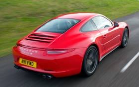 Картинка машина, красный, 911, Porsche, порше, Coupe, задок