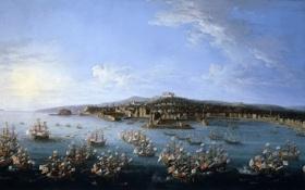 Обои корабль, картина, морской пейзаж, Антонио Джоли, Вид на Порт Карла де Бурбона с Моря