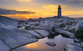 Картинка море, небо, солнце, закат, камни, берег, пейзажи