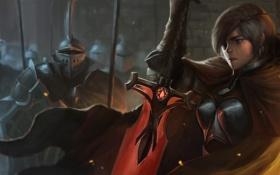 Обои рыцари, повязка, Josh Corpuz, меч, девушка, армия, доспехи