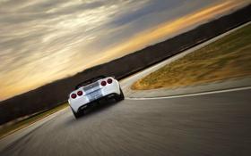 Картинка Небо, Авто, Дорога, Белый, Corvette, Chevrolet, Шевроле
