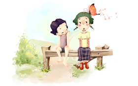 Обои мальчик, трава, позитив, бабочка, рисунок, дети, лавка