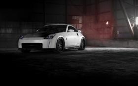 Обои белый, ангар, Nissan, white, ниссан, 350Z, карбоновый капот
