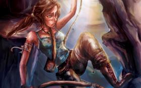 Обои веревка, лук, арт, Tomb Raider, lara croft, томб райдер, лара Крофт