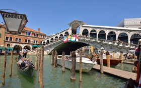 Обои венеция, италия, мост риальто, канал