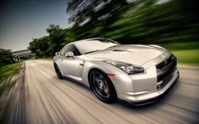 Обои silvery, серебристый, ниссан, GT-R, скорость, Nissan, размытость
