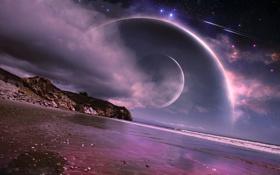 Обои море, берег, планеты, звёзды, метеориты, dreamworld
