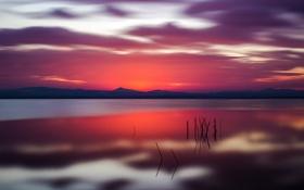 Картинка небо, облака, горы, озеро, отражение, зарево