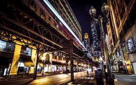 Картинка дорога, машины, ночь, город, огни, улица, здания