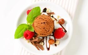 Обои мята, шоколад, орехи, малина, мороженое