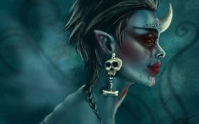 Обои девушка, кровь, череп, монстр, серьги, фэнтези, арт
