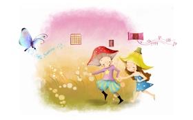 Обои трава, радость, дети, ветер, бабочка, рисунок, окна
