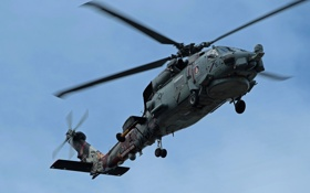 Обои полет, вертолёт, военно-транспортный, Seahawk, Sikorsky SH-60B